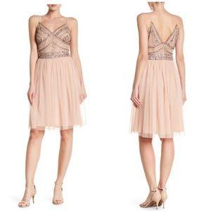 Marina Beaded Bodice Blush Dress
